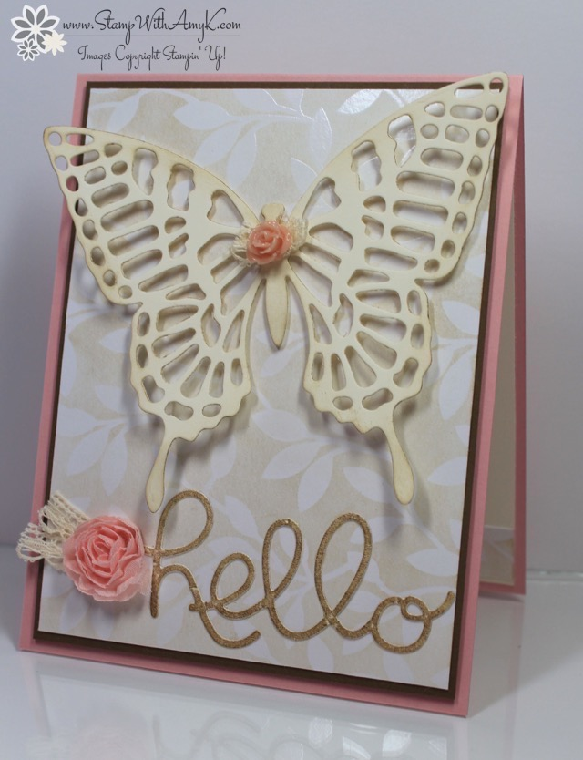 Stampin up butterfly hello card stamp with amy k